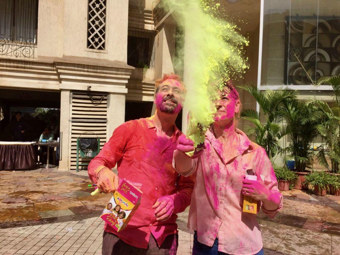First-Time Holi - Deb and Steve splash colours
